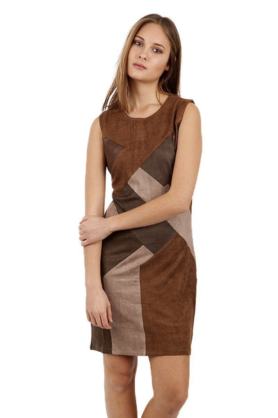 Sally Suedette Panelled Retro Brown Dress - LadyVB   s.r.o - 2