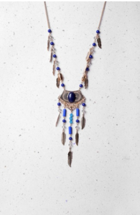 Gold Necklace with Blue Beads - LadyVB   s.r.o - 2