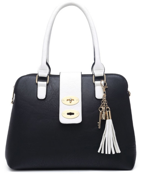 Black Tassel Handbag with White Straps - LadyVB   s.r.o