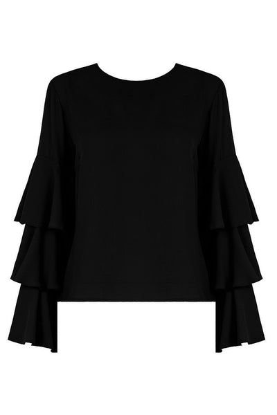Emily Black Bell Sleeve Top - LadyVB   s.r.o - 3