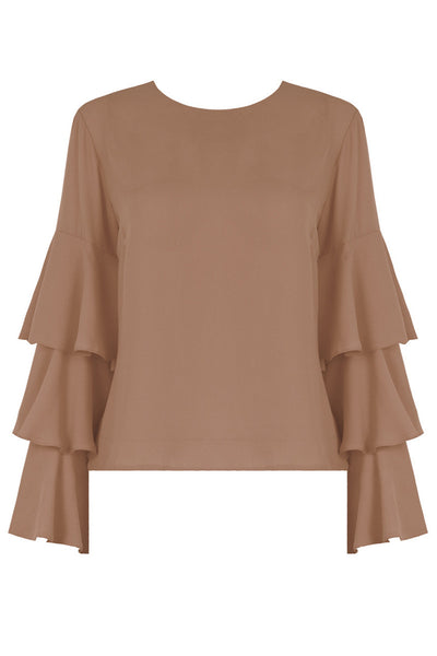 Emily Beige Bell Sleeve Top - LadyVB   s.r.o - 2