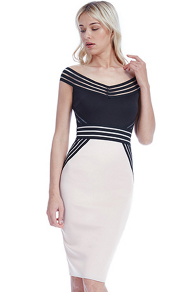 Jenny Stone and Black Bardot Contrast Dress - LadyVB   s.r.o - 2