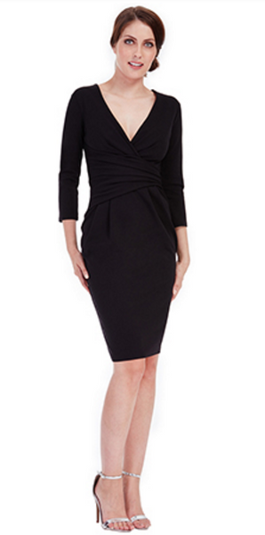 Maggie Black Fitted Pleated Midi Dress - LadyVB   s.r.o - 2