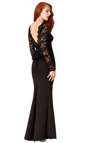Billie Black Open Back Maxi Dress with Bow Detail - LadyVB   s.r.o - 5