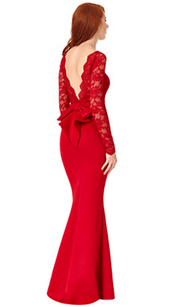 Billie Red Open Back Maxi Dress with Bow Detail - LadyVB   s.r.o - 3