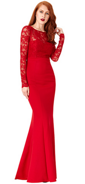 Billie Red Open Back Maxi Dress with Bow Detail - LadyVB   s.r.o - 2