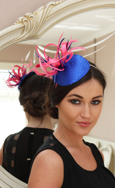 Bespoke Pink and Blue Fascinator - LadyVB   s.r.o - 1
