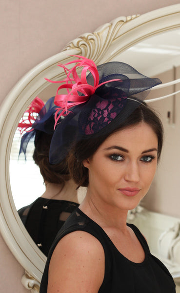Bespoke navy lace and pink fascinator - LadyVB   s.r.o - 2