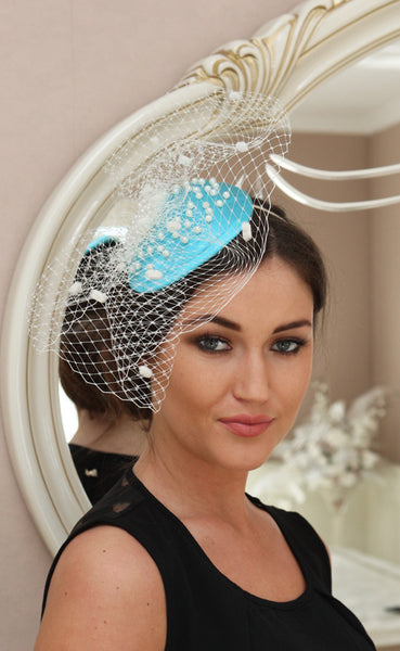 Bespoke Aqua and pearl fascinator - LadyVB   s.r.o - 2