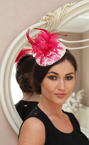 Bespoke Pink and Cream Lace Fascinator - LadyVB   s.r.o - 2