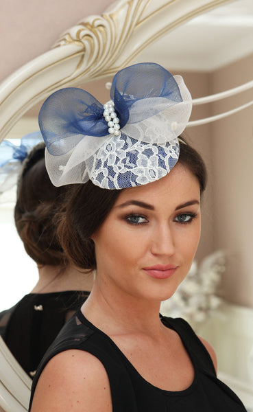 Bespoke navy and cream lace fascinator - LadyVB   s.r.o - 2