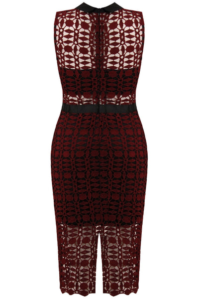 Wine and Black Band Dress - LadyVB   s.r.o - 4