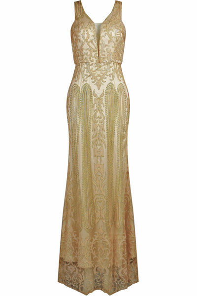 Caleigh Gold Embellished Maxi Dress with Mesh Insert - LadyVB   s.r.o - 4