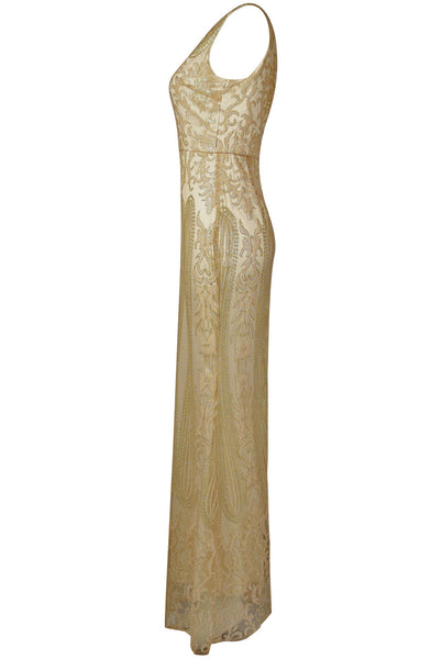 Caleigh Gold Embellished Maxi Dress with Mesh Insert - LadyVB   s.r.o - 7