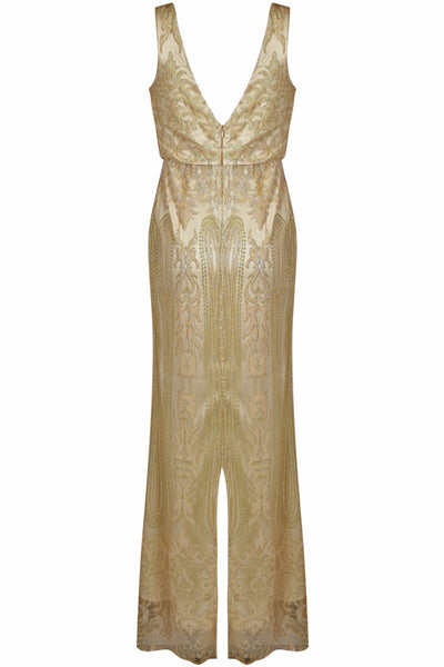 Caleigh Gold Embellished Maxi Dress with Mesh Insert - LadyVB   s.r.o - 5