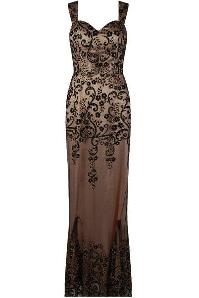 Layla Black Floral Embellished Mesh Lined Maxi Dress - LadyVB   s.r.o - 3