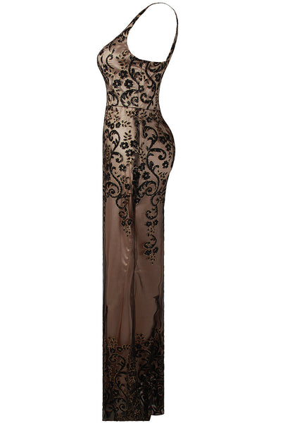Layla Black Floral Embellished Mesh Lined Maxi Dress - LadyVB   s.r.o - 5