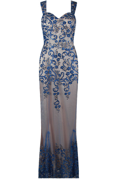 Layla Blue Floral Embellished Mesh Lined Maxi Dress - LadyVB   s.r.o - 3