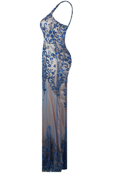 Layla Blue Floral Embellished Mesh Lined Maxi Dress - LadyVB   s.r.o - 5