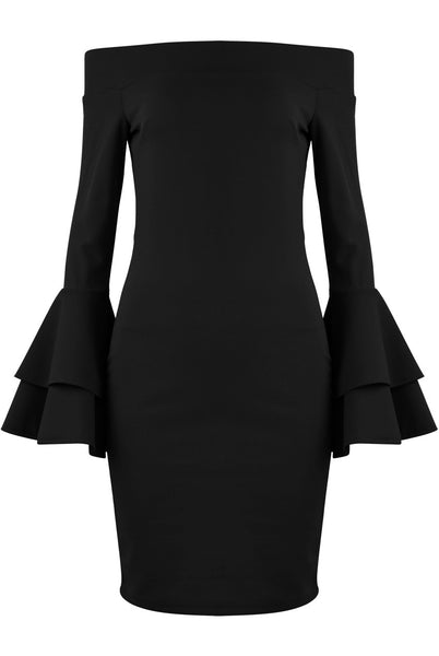Bella Bardot Black Ruffle Sleeve Dress - LadyVB   s.r.o - 2