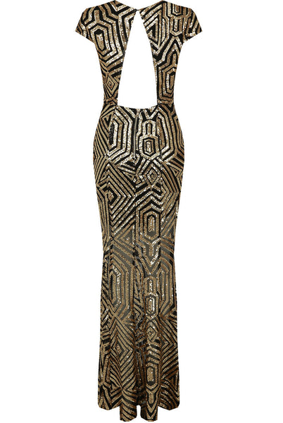 Cynthia Gold and Black Sequin Open Back Maxi Dress - LadyVB   s.r.o - 3