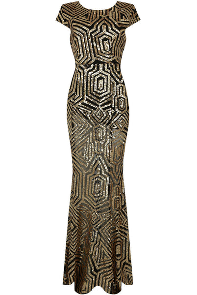 Cynthia Gold and Black Sequin Open Back Maxi Dress - LadyVB   s.r.o - 2