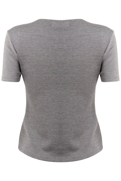 Grey Emma V Neck Stretch Top - LadyVB   s.r.o - 4