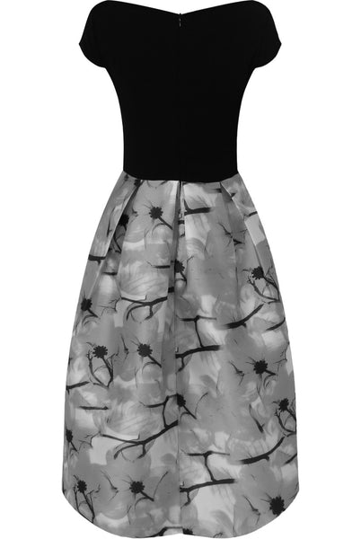 Lily Black and Grey Print Dress - LadyVB   s.r.o - 5