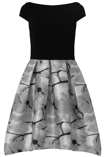 Lily Black and Grey Print Dress - LadyVB   s.r.o - 4