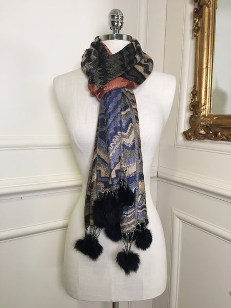 Miriam Black and Multi Colour Wrap Scarf - LadyVB   s.r.o - 2