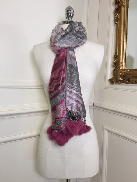 Miriam Rose Pink and Multi Colour Wrap Scarf - LadyVB   s.r.o - 2