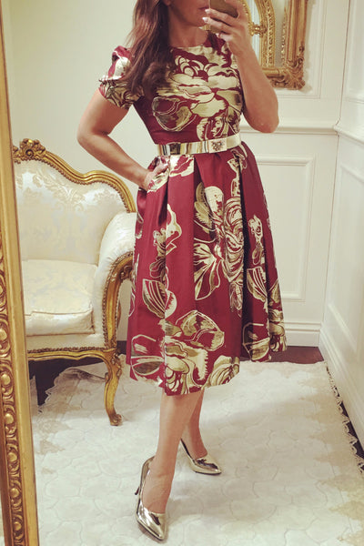 Diane Red and Gold Print Fit and Flare Dress - LadyVB   s.r.o - 2