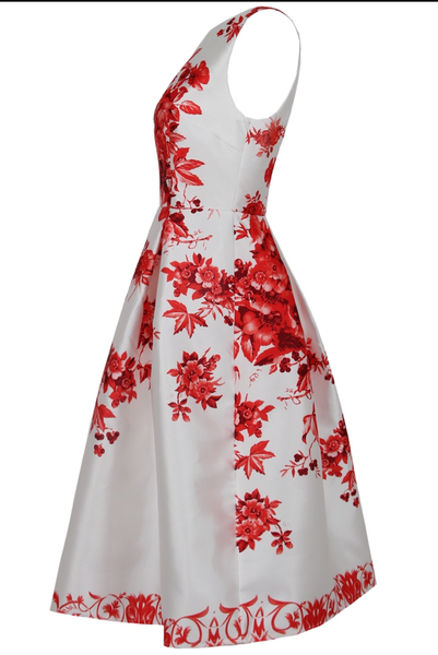 Red Floral Swing Dress - LadyVB   s.r.o - 5
