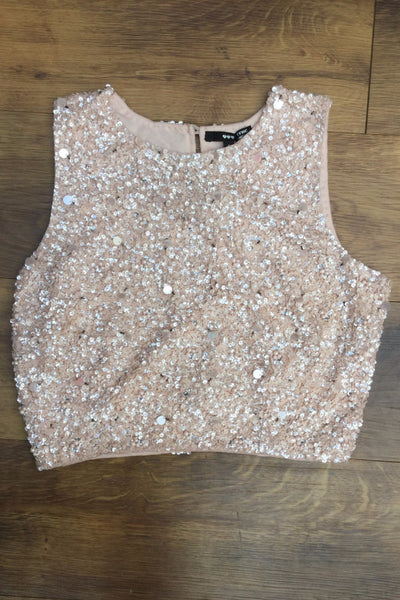 Dusty Pink Sequin and Beaded Emilia Crop Top - LadyVB   s.r.o