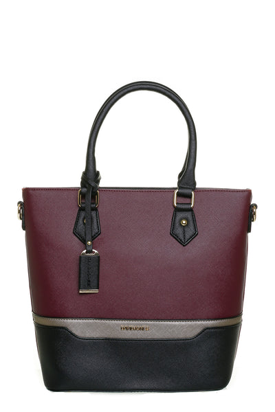 Jenna Two Tone Plum and Black Tall Handbag - LadyVB   s.r.o - 1
