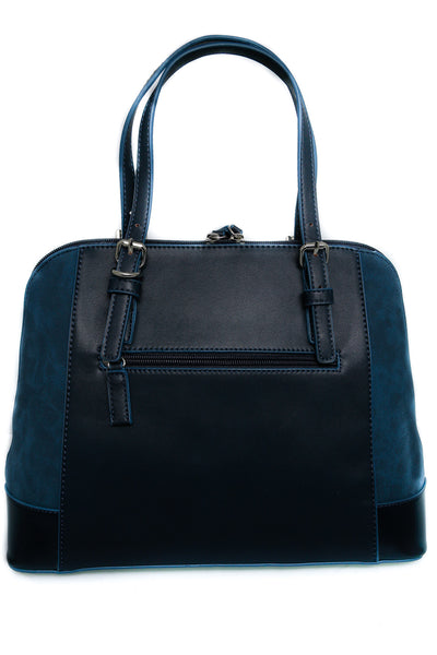 Tina Navy Zip Front Suedette and Patent Handbag - LadyVB   s.r.o - 3