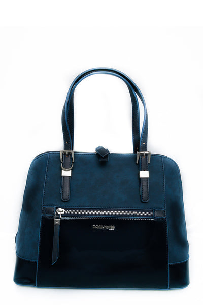 Tina Navy Zip Front Suedette and Patent Handbag - LadyVB   s.r.o - 2