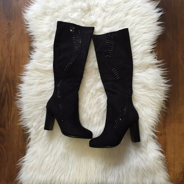 Samantha Black Knee High Heel Boot Glimmer down Side - LadyVB   s.r.o - 1