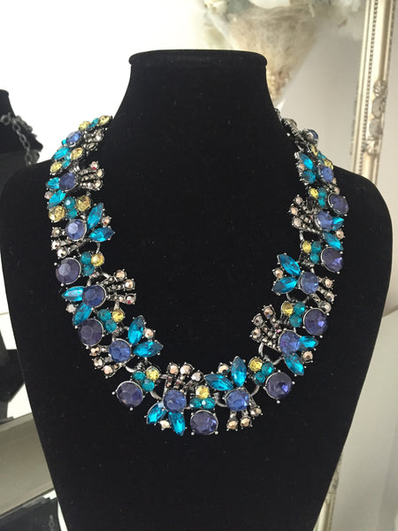 Darla Navy Blue and Green Jewel Necklace - LadyVB   s.r.o - 2