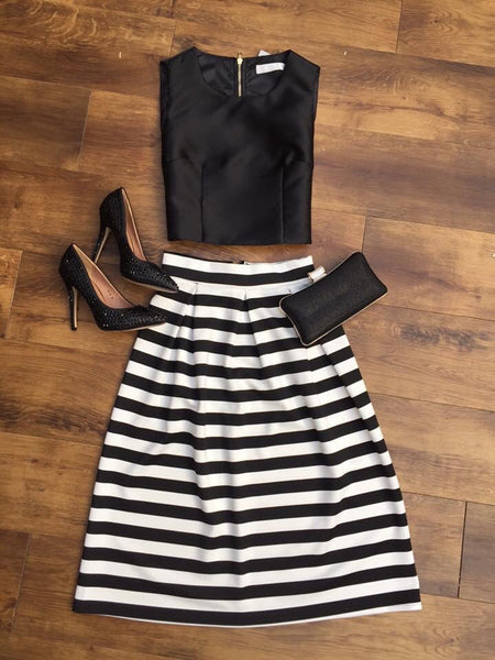 Monochrome Striped Midi Skirt - LadyVB   s.r.o - 5