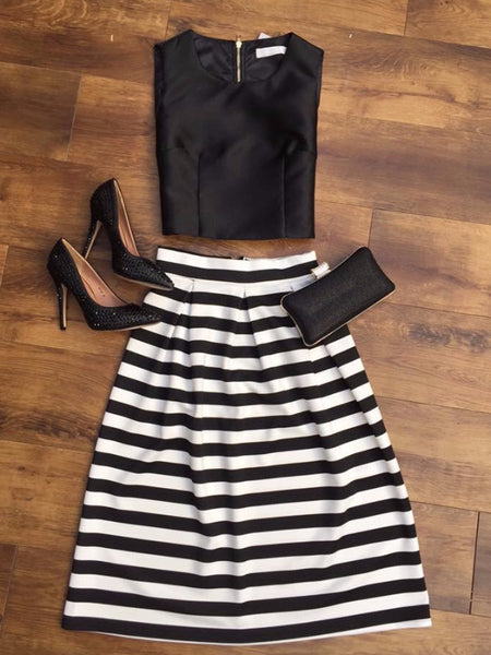 Monochrome Striped Midi Skirt - LadyVB   s.r.o - 4