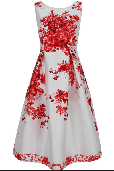 Red Floral Swing Dress - LadyVB   s.r.o - 8