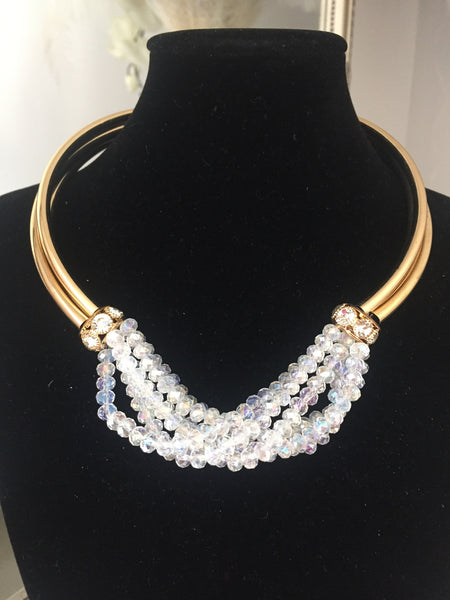 Francine White and Gold Torc Necklace with Gold Ball Drop Earrings - LadyVB   s.r.o - 2