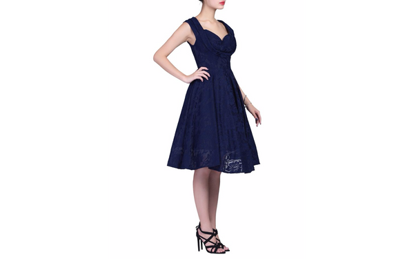 Marissa Navy Lace Midi Dress - LadyVB   s.r.o - 5