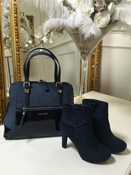 Tina Navy Zip Front Suedette and Patent Handbag - LadyVB   s.r.o - 4
