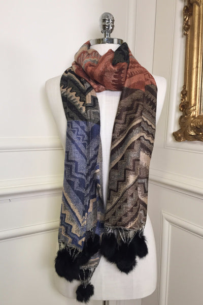 Miriam Black and Multi Colour Wrap Scarf - LadyVB   s.r.o - 1