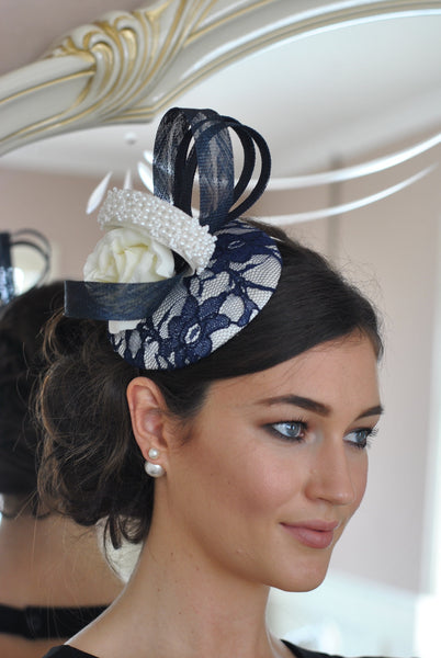 Bespoke Navy and Cream Fascinator - LadyVB   s.r.o - 3
