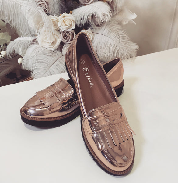Monica Rose Gold Loafer - LadyVB   s.r.o