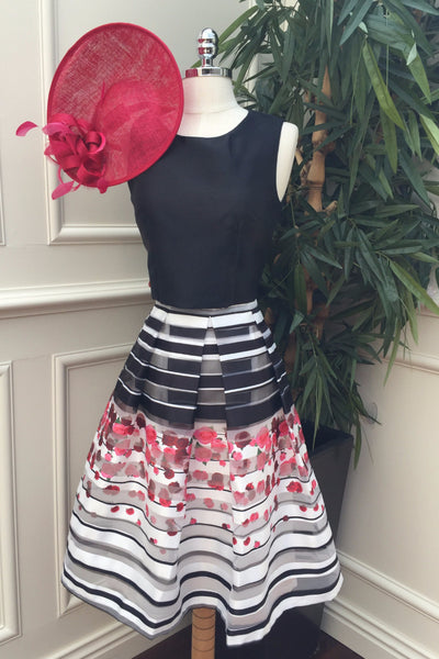 Brooklyn Black and White Skirt with Rose Detail - LadyVB   s.r.o