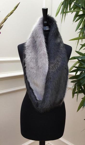 Grey and Black fur Stole - LadyVB   s.r.o